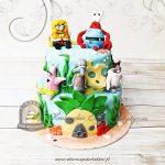 Tort z bohaterami bajki SpongeBob Kanciastoporty