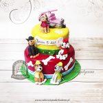 Piętrowy tort z figurkami piesków z bajki PSI PATROL