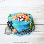 238BA Wakacyjny morski tort z muszelkami, kotwicą i kołem ratunkowym