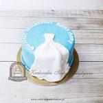 Tort na wieczór panieński suknia ślubna w kwiatuszki