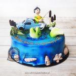 242BA Tort z figurką wędkarza łowiącego rybę