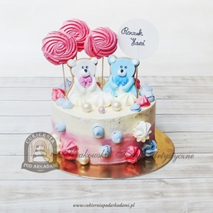 Pastelowy tort na roczek z misiami i bezowymi lizakami