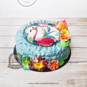 Tort z flamingiem i egzotycznymi kwiatami