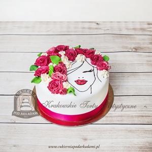 275BA Tort z ręcznie malowaną twarzą kobiety z kwiatami we włosach
