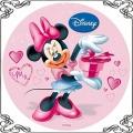 092 Opłatek Myszka Minnie różowa z prezentem