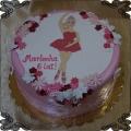 105 Tort z baletnicą Barbie w różowej sukience oraz motylki