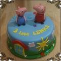 123 Tort świnka Peppa i brat George figurki z lukru niebieskie tło