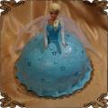 125 Tort  lalka Barbie w kolorach księżniczki Elzy z Krainy lodu Frozen cake colors
