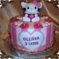 15 Tort dla dzieci w paski Hello Kitty  biały w różowe paski