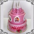 35 Tort dla dziewczynki różowy zamek z wieżyczkami dwu piętrowy Cukiernia Pod Arkadami Kraków