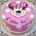 7 Tort dla dziecka z myszką Minnie z różową kokardką w kropk