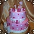78 Tort dla dziewczynki piętrowy z klockami i serduszkami kolorowy na roczek