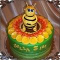 117 Tort pszczółka na żółtym listku na 5 urodziny