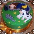123 Tort na wsi łąka krowa świnka kaczka piesek kot