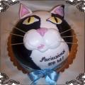 142 Tort z czarno białym kotem z wąsami