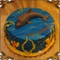 170 Tort delfin  w  wodzie  wodorosty rybki motyw morski