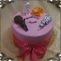 178 Tort dwa psy i dwa koty figurki z lukru różowe tło