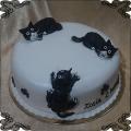 180 Tort koty 3 czarne kociaki na 2 urodziny cat cake
