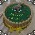 183 Tort piesek figurka z lukru języczki biszkoptowe z boku dog cake