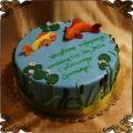 192 Tort w kształcie jeziora ryby wodorosty woda morski