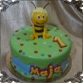 198 Tort pszczółka Maja na roczek dziecka z jedynką z lukru na trawie