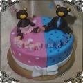 203 Tort bliźniaki dwa misie dla chłopca i dziewczynki Twins Cake
