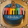 207 Tort kolorowe pianino na roczek chłopca muzyka