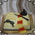 215 Tort księga Harry Potter szalik różdżka okulary czapka