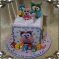 226 Tort kolorowe sowy sówki kwadrat dla dzieci