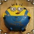 229 Tort minionek 2D w ogrodniczkach 2 x oko Minions cake
