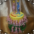 240 Tort różowa Pantera na urodziny bliźniaki dużo figurek, Pink Panther cake