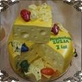 241 Tort w kształcie sera z dziurami  kolorowe  myszy  żółty ser
