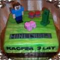 94 Tort z gry Minecraft zielone tło Steve świnia Creeper  TNT