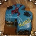 105 Tort spiderman w kształcie cyfra 4 pająki sieć pajęczyna, spirerman cake