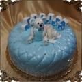 114 Tort z niebieskim misiem pikowany imię klocki na roczek