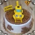 128 Tort koparka żółta  cegły ziemia dla dziecka