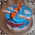 62 Tort z figurką samolotu z lukru  Dusty z bajki Disneya  Samoloty