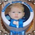 30 Tort ze zdjęciem dziecka na chrzest z kokardką