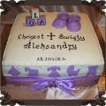 37 Tort kwadratowy z klockami kołyską bucikami kolor fiolet na chrzest