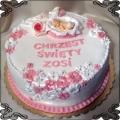 39 Tort  z dzidziusiem w kwiatkach różowo biały na chrzest