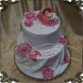 43 Tort na chrzest małe dziecko  bobas w  kołysce  kwiaty dwa poziomy różowy dla dziewczynki