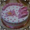47 Tort na chrzest święty różowe buciki oraz imię na klockach z lukru  dla dziewczynki