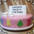 5 Różowy tort na chrzest dziewczynki Cukiernia Pod Arkadami Kraków