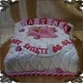 56 Tort poduszka chrzest święty klocki dzidzio różowy noworodek