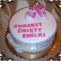 8 Tort na Chrzest z różowymi bucikami dla dziewczynki