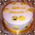 100 Tort z emotikonami żółte buźki 100 lat