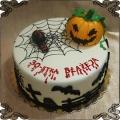 143 Tort na Hallowin cmentarny  dynia pajęczyna pająki nietoperze