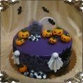144 Tort na Halloween  cmentarz groby dynia duchy nietoperze