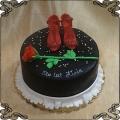 153 Tort flamenco czerwone szpilki i czerwona  róża