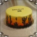 160 Tort preria kaktusy pustynia o zachodzie słońca na 30 urodziny ręcznie malowany